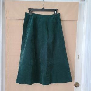 Vintage Dark Green Corduroy Skirt